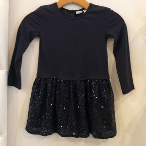 Navy long sleeve sequin dress